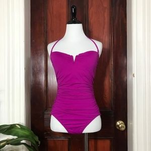 Tommy Bahama bright purple ruched bathing suit